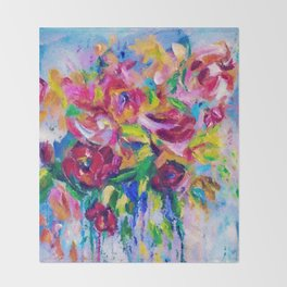 Abstract Colorful Flowers Throw Blanket