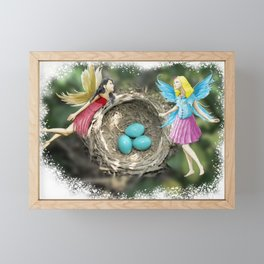 Tree Fairies At The Robin Nest Framed Mini Art Print