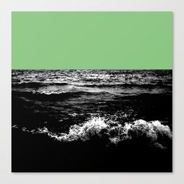 Black Wave w/Mint Green Horizon Canvas Print