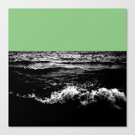 Black Wave w/Mint Green Horizon Canvas Print