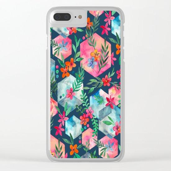 Whimsical Hexagon Garden on Blue Clear iPhone Case