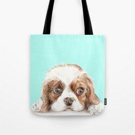 Cavalier King Charles Spaniel Dog Watercolor Pet Portrait Tote Bag