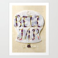 sylvia plath Art Prints featuring The Bell Jar by Sylvia Plath Book Cover by Erin Maala