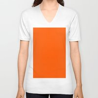 pantone V-neck T-shirts featuring Orange (Pantone) by List of colors