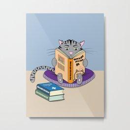 Reading Cat in Confinement Metal Print
