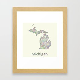 Michigan map Framed Art Print