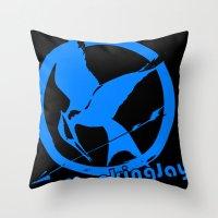 mockingjay Throw Pillows featuring MockingJay by Marc Koster