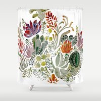 flowers Shower Curtains featuring Succulents  by Hannah Margaret Illustrations
