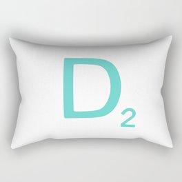 Aqua Scrabble Letter D Rectangular Pillow