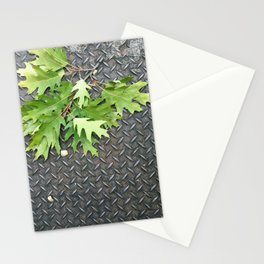 Oak Leaves on Metal Stationery Cards