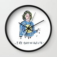 kurt cobain Wall Clocks featuring Cut Cobain / Colored by Nü Köza