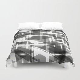 Monochrome vertical strict stripes of glittering black triangles. Duvet Cover