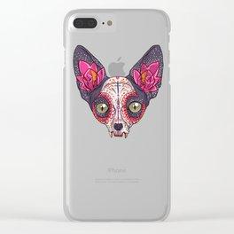 Día de los Muertos - Sugar Skull Cat Clear iPhone Case
