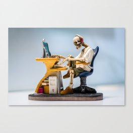 Dead at the Screen (Skeleton) Canvas Print