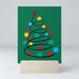 Christmas Tree Minimal Design Art Red Blue Green Mini Art Print