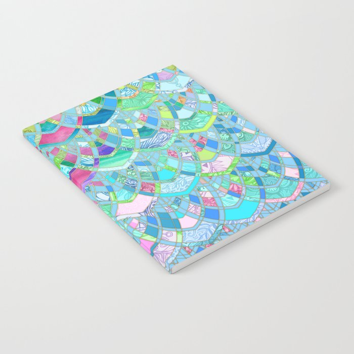Art Deco Watercolor Patchwork Pattern 2 Notebook