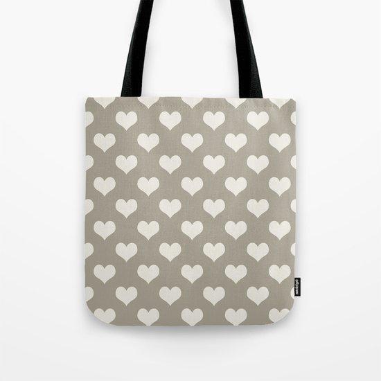 Gray Grey Alabaster Hearts Tote Bag