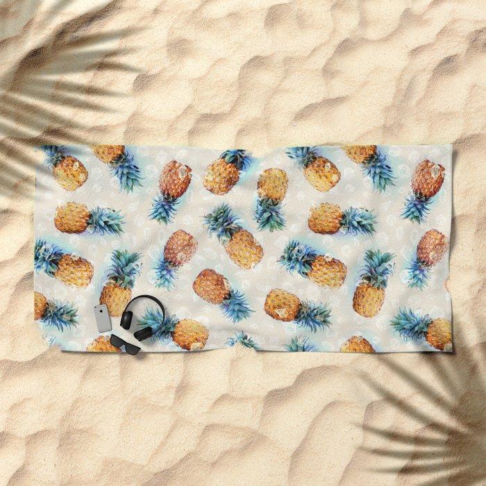 Pineapples + Crystals  Beach Towel