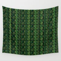 code Wall Tapestries featuring Binary code by Pao Designs