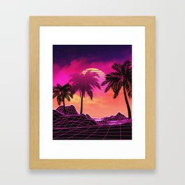 Pink vaporwave landscape with rocks and palms Framed Art Print