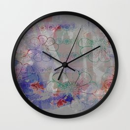flower pattern color explosion Wall Clock