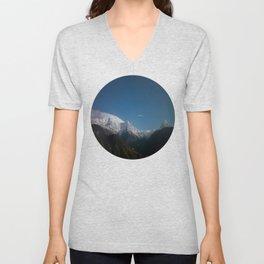 Snow Mountains Against A Blue Sky Circle Photo Unisex V-Neck