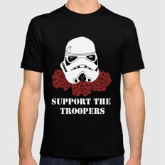 Support the Troopers MEDIUM Black Mens Fitted Tee
