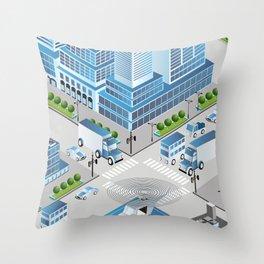 Urban crossroads Throw Pillow