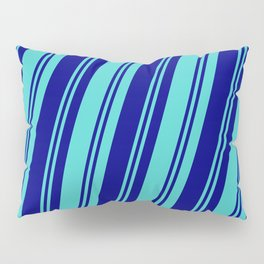 Blue & Turquoise Colored Pattern of Stripes Pillow Sham
