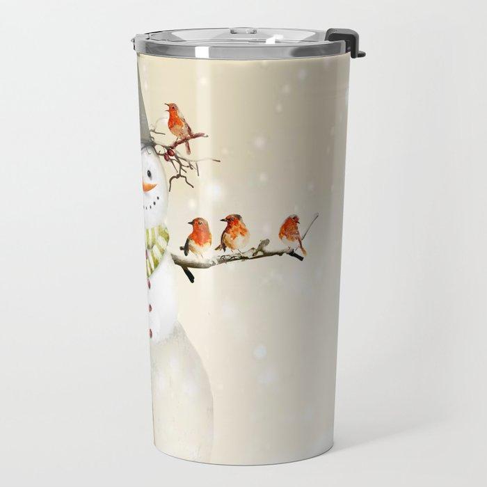 Snowman and Birds Travel Mug