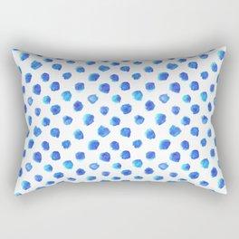 Watercolor Tie Dye Dots in Indigo Blue Rectangular Pillow