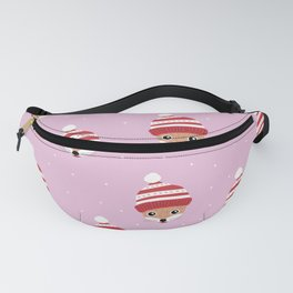 Little fox friends in santa hats kids christmas pattern girls red pink Fanny Pack