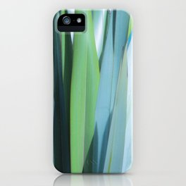 blue and green leaves iPhone Case