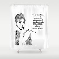 audrey hepburn Shower Curtains featuring AUDREY HEPBURN by Rebecca Bear