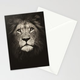 Beautiful monochrome lion face on dark background. Powerful calm and confident maned male lion. Stationery Cards