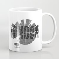 london map Mugs featuring London Map by Shirt Urbanization
