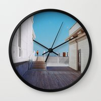 boardwalk empire Wall Clocks featuring Boardwalk by marisa ann