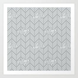 Pastel Gray Chevron Floral Art Print