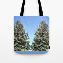 Colorado Blue Spruce, front yard, doubled Tote Bag