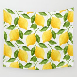 Watercolor Lemons Wall Tapestry