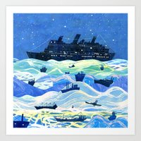 ships Art Prints featuring Ships by Victoria Antolini