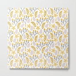 Yellow Floral on White Metal Print