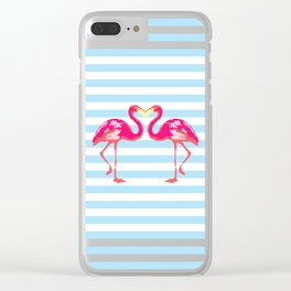 Flamingo poster, t-shirt, Watercolor, pink in blue stripes Clear iPhone Case