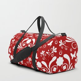 Abstract floral red, white Duffle Bag
