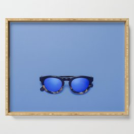 Blue Lens Sunglasses on a Blue background Serving Tray