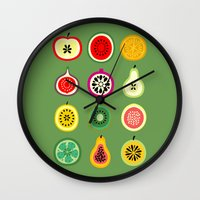 vector Wall Clocks featuring Banca de Frutas by Marcelo Romero