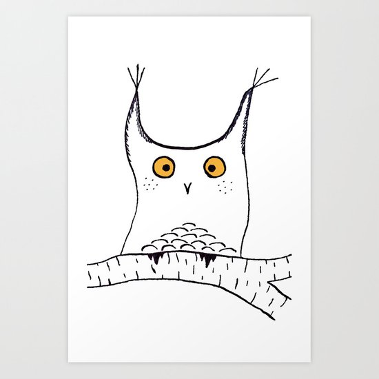 Squarish Owl Art Print