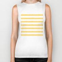 ikat Biker Tanks featuring Ikat Stripe Yellow by Jacqueline Maldonado