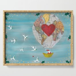 Christmas Santa Claus in a Hot Air Balloon for Peace Serving Tray