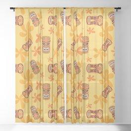 Retro Summer Tiki Room Sheer Curtain